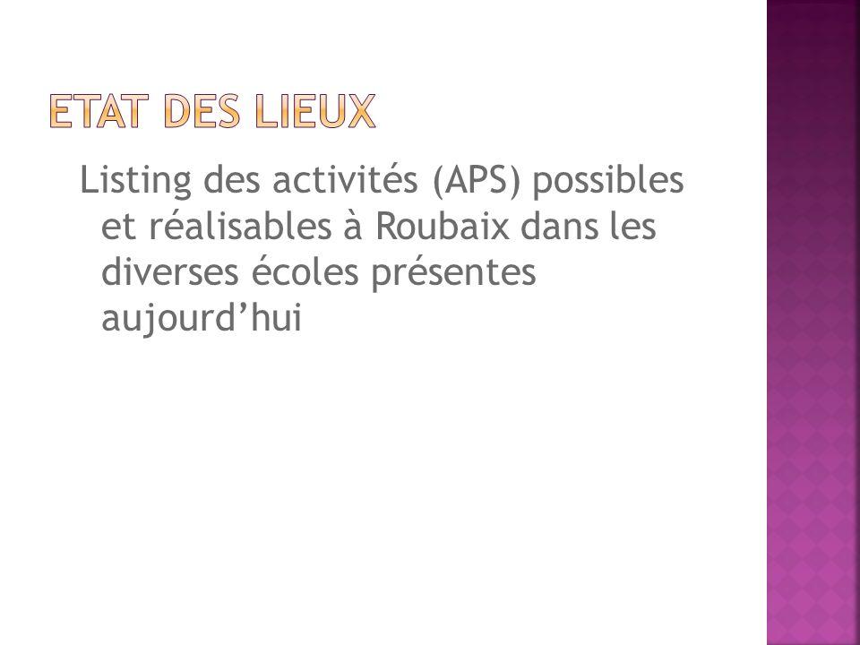 Etat des lieux Listing des activités (APS) possibles et réalisables à Roubaix dans les diverses écoles présentes aujourd'hui.