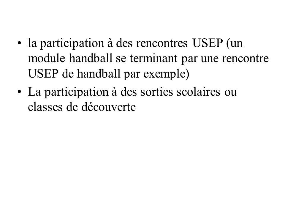 la participation à des rencontres USEP (un module handball se terminant par une rencontre USEP de handball par exemple)