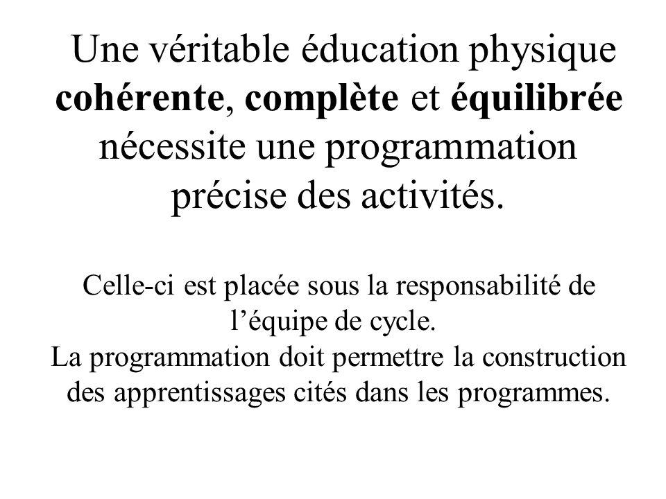Une véritable éducation physique cohérente, complète et équilibrée nécessite une programmation précise des activités.