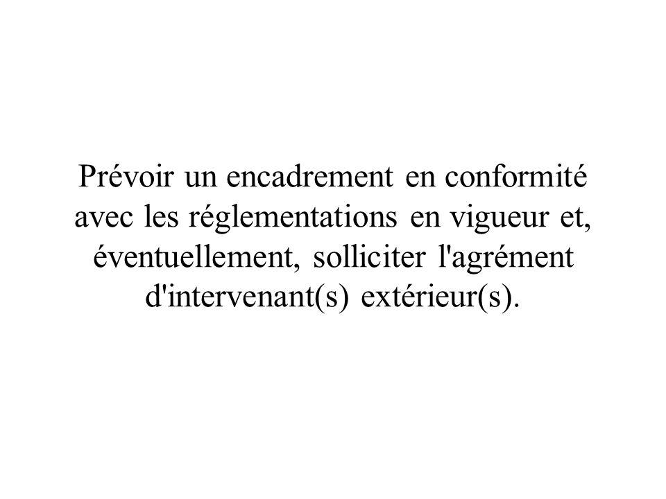 Prévoir un encadrement en conformité avec les réglementations en vigueur et, éventuellement, solliciter l agrément d intervenant(s) extérieur(s).