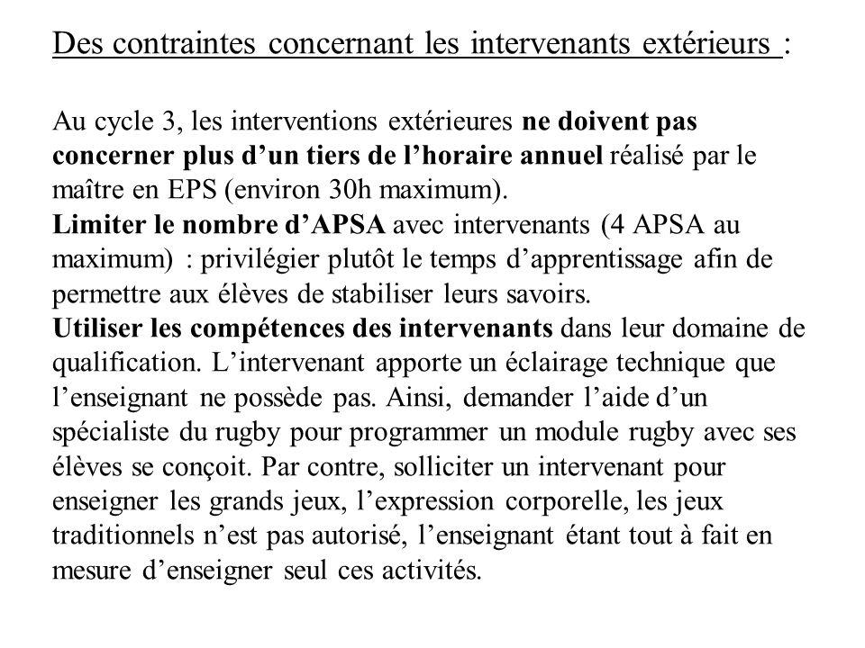 Des contraintes concernant les intervenants extérieurs : Au cycle 3, les interventions extérieures ne doivent pas concerner plus d'un tiers de l'horaire annuel réalisé par le maître en EPS (environ 30h maximum).