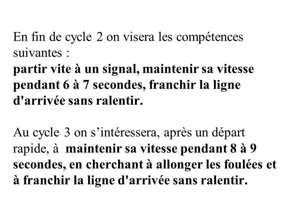 En fin de cycle 2 on visera les compétences suivantes : partir vite à un signal, maintenir sa vitesse pendant 6 à 7 secondes, franchir la ligne d arrivée sans ralentir.