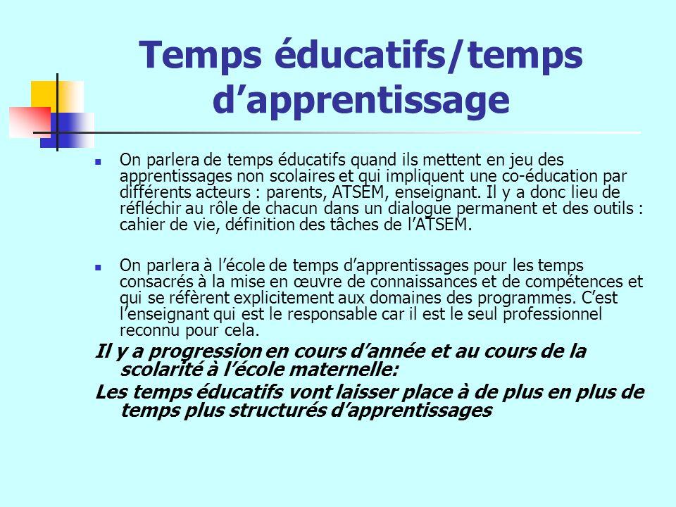 Temps éducatifs/temps d'apprentissage