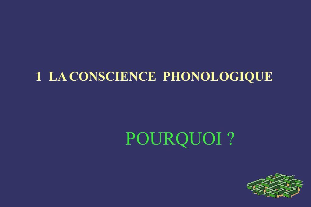 1 LA CONSCIENCE PHONOLOGIQUE POURQUOI