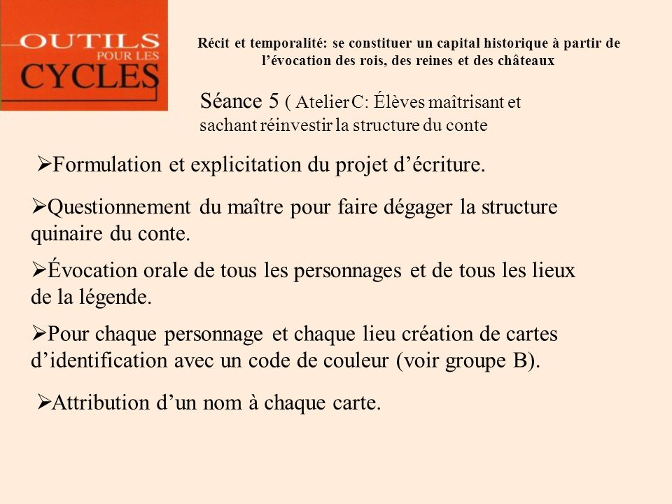 Formulation et explicitation du projet d'écriture.