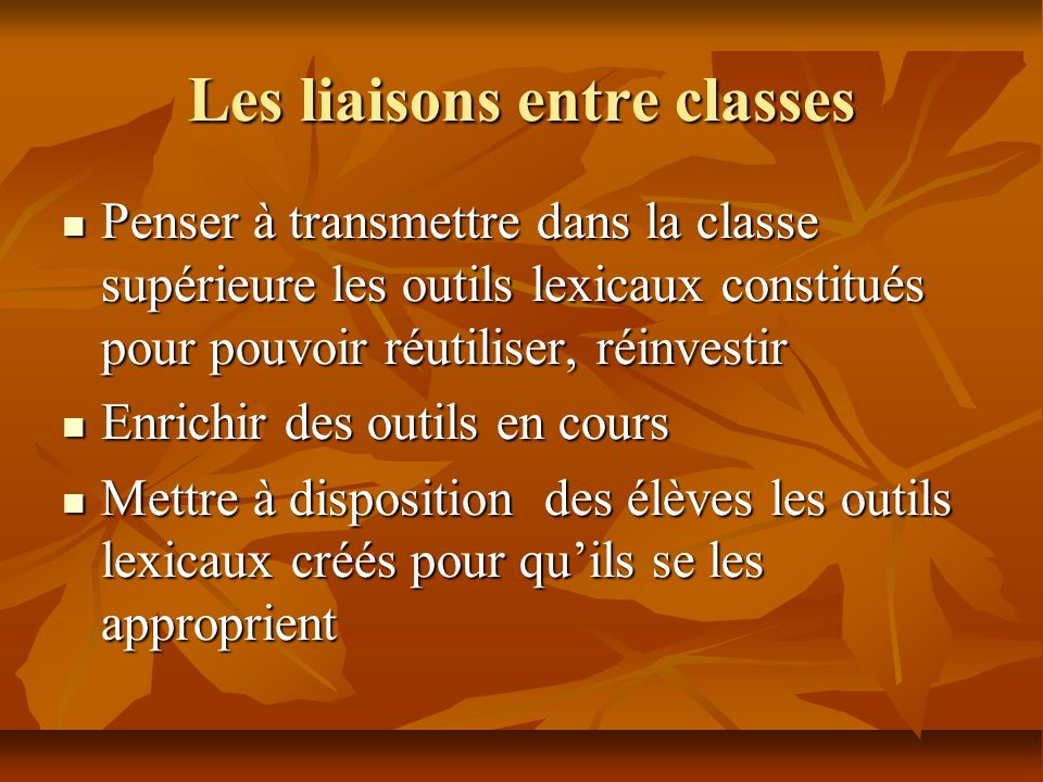 Les liaisons entre classes