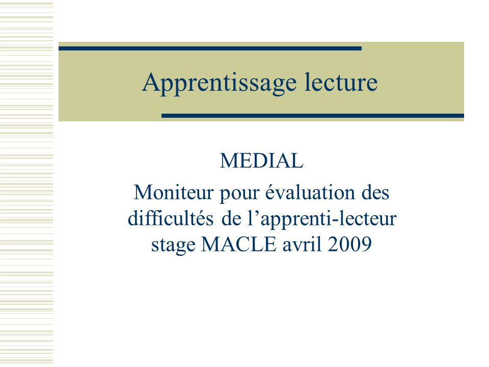 Apprentissage lecture
