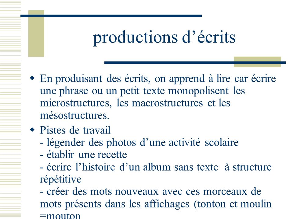 productions d'écrits