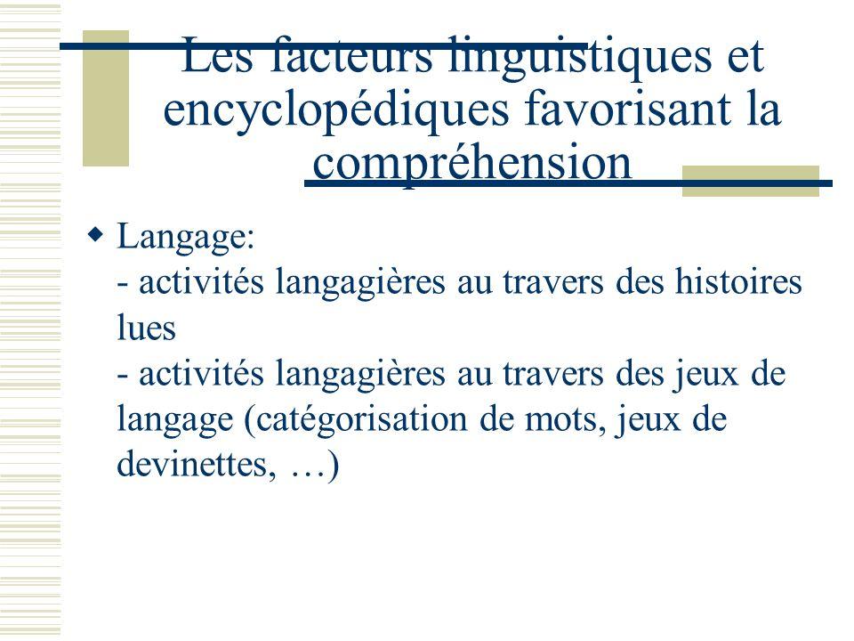 Les facteurs linguistiques et encyclopédiques favorisant la compréhension