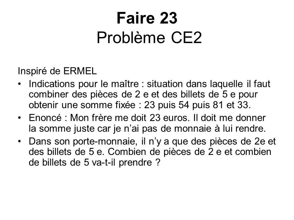 Faire 23 Problème CE2 Inspiré de ERMEL