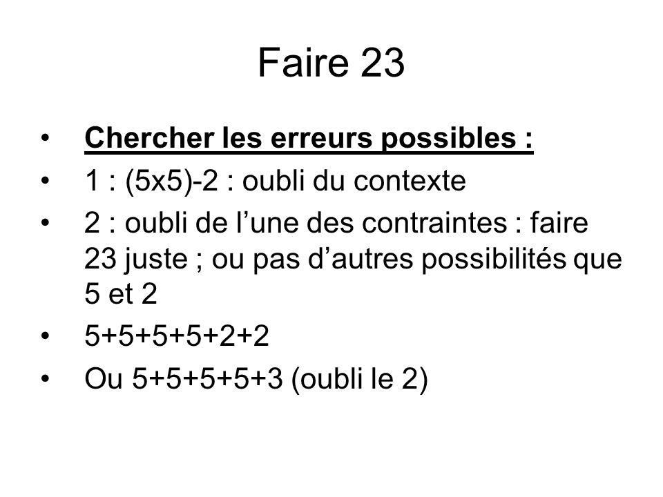 Faire 23 Chercher les erreurs possibles :