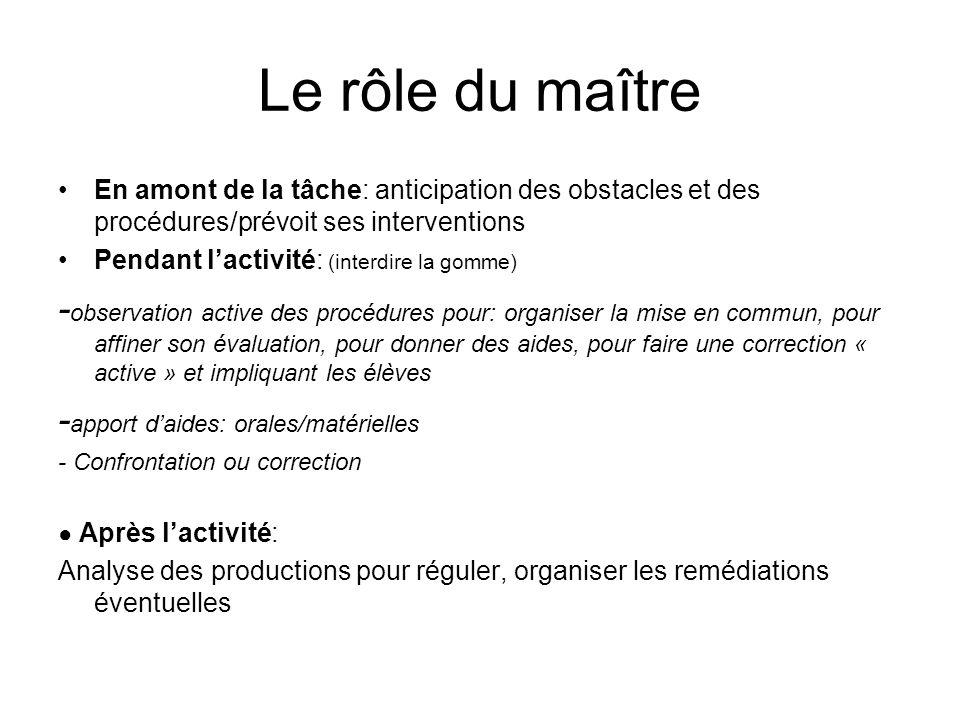 Le rôle du maître En amont de la tâche: anticipation des obstacles et des procédures/prévoit ses interventions.