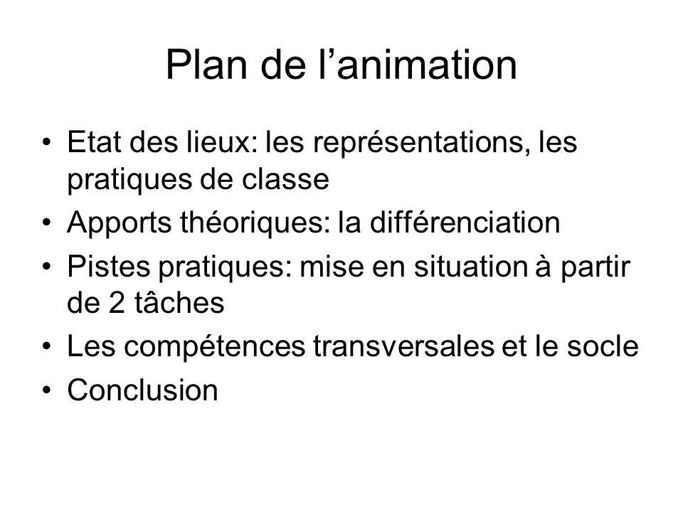 Plan de l'animation Etat des lieux: les représentations, les pratiques de classe. Apports théoriques: la différenciation.