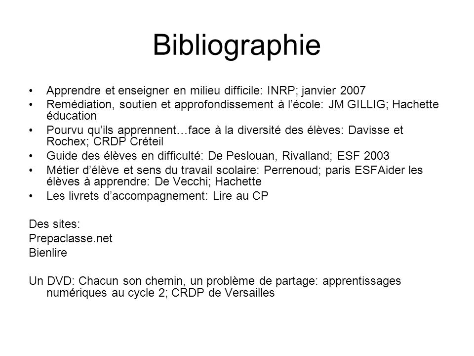 Bibliographie Apprendre et enseigner en milieu difficile: INRP; janvier 2007.