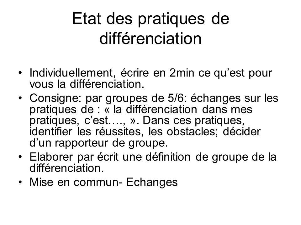 Etat des pratiques de différenciation