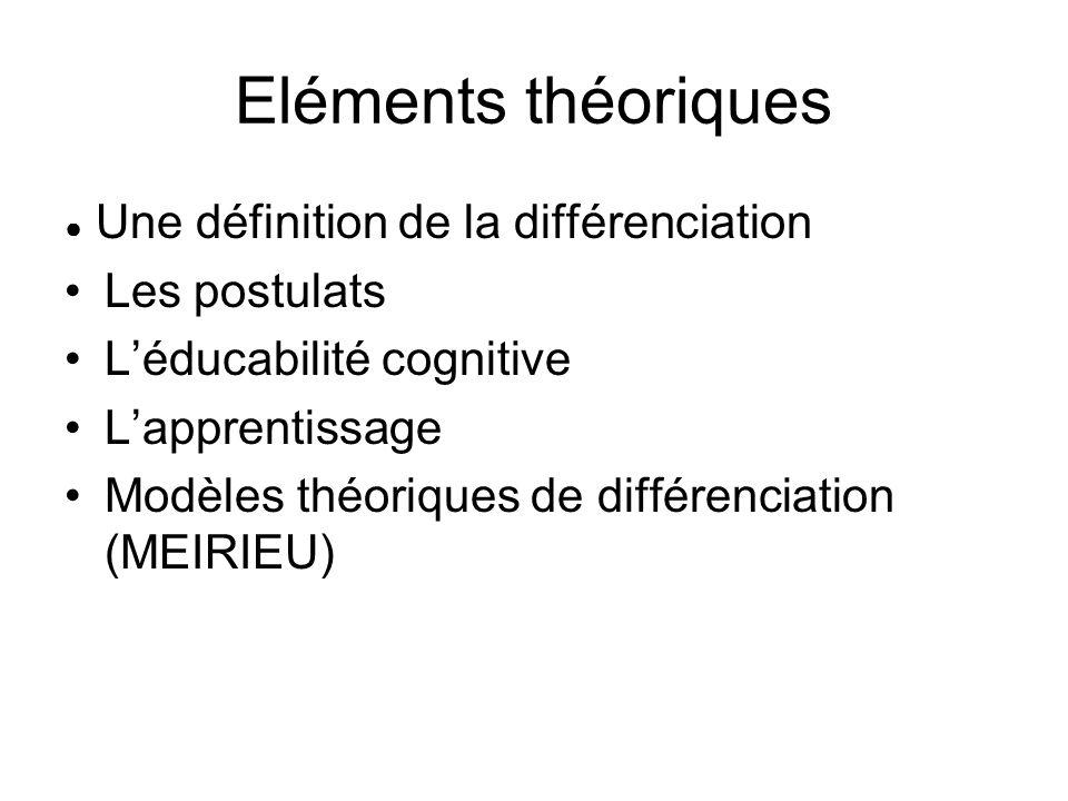 Eléments théoriques Les postulats L'éducabilité cognitive