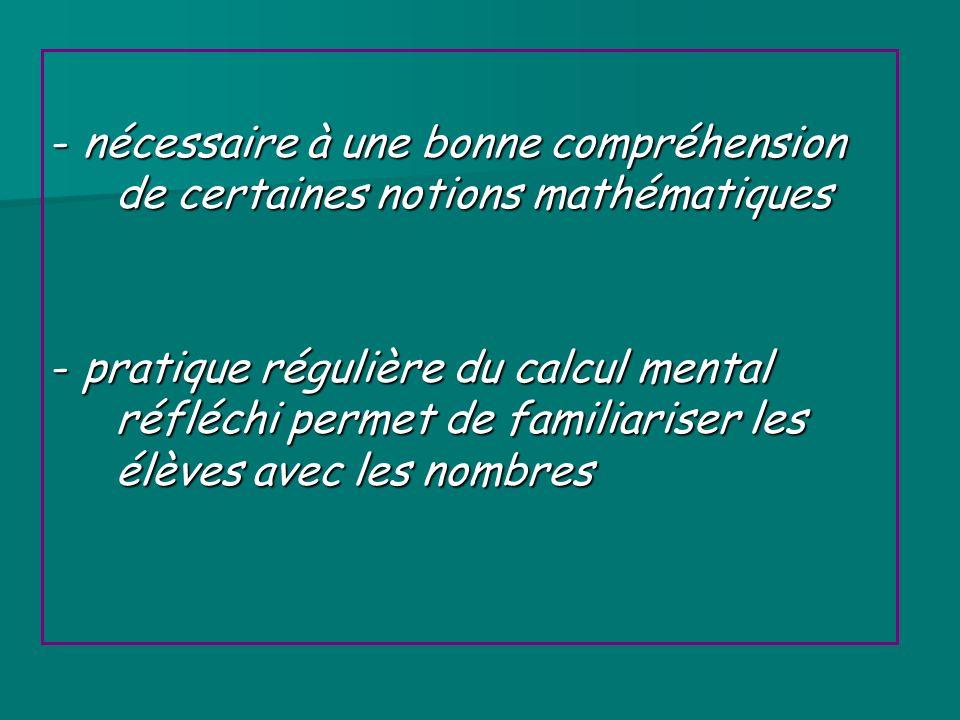 - nécessaire à une bonne compréhension de certaines notions mathématiques