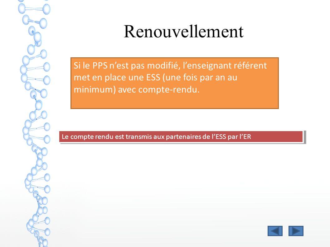 Renouvellement Si le PPS n'est pas modifié, l'enseignant référent met en place une ESS (une fois par an au minimum) avec compte-rendu.