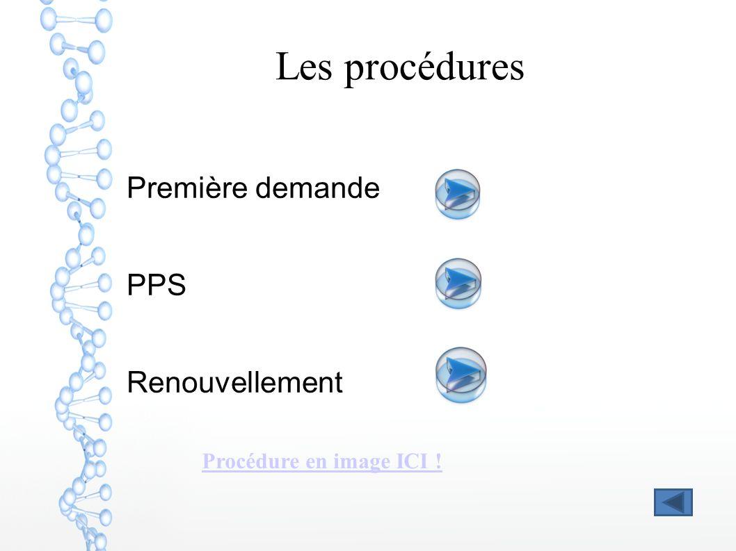 Les procédures Première demande PPS Renouvellement