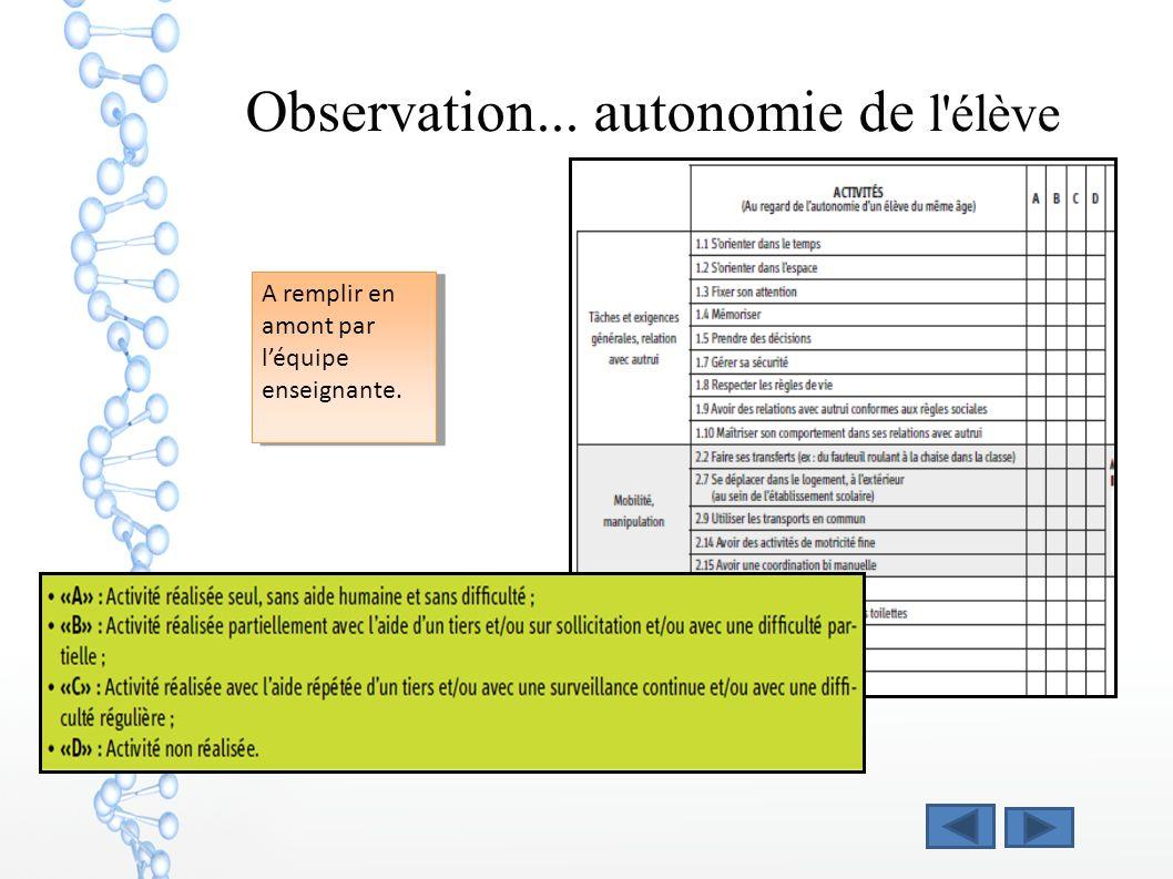 Observation... autonomie de l élève