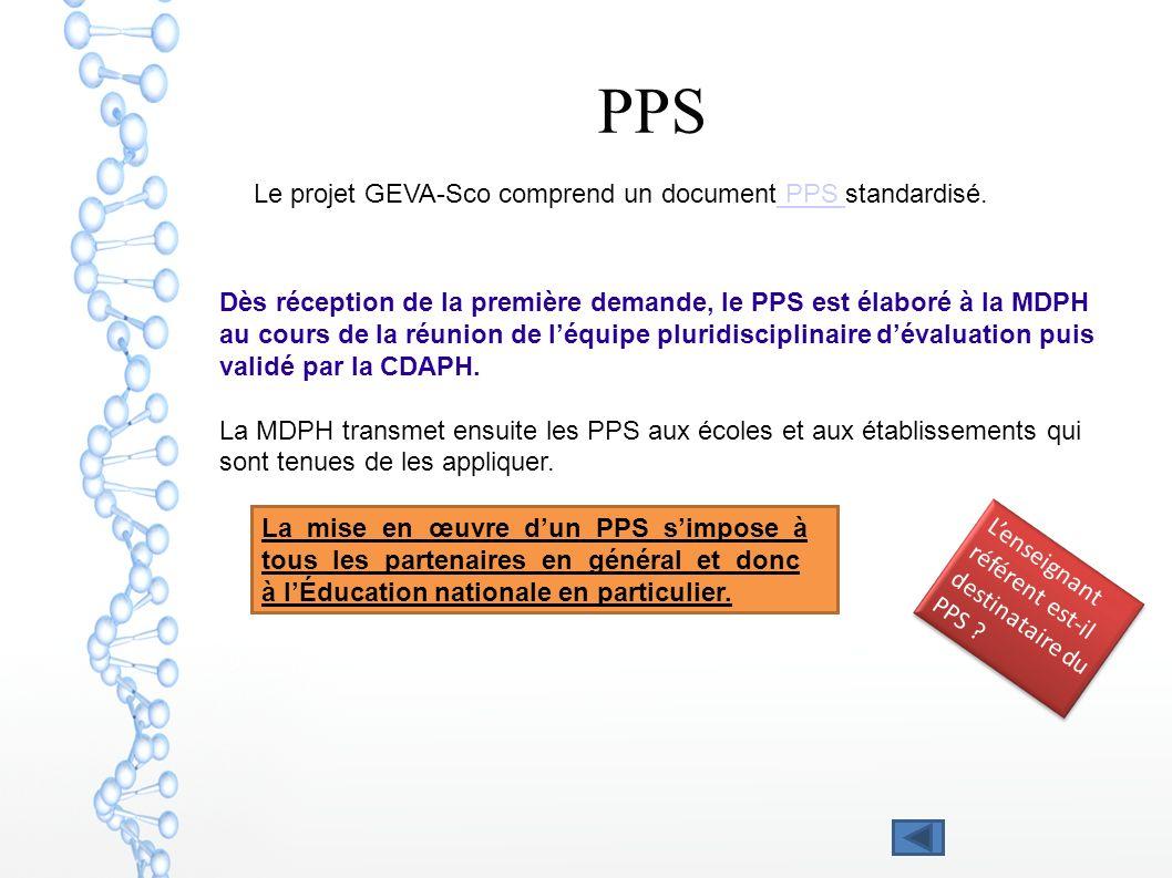 PPS Le projet GEVA-Sco comprend un document PPS standardisé.