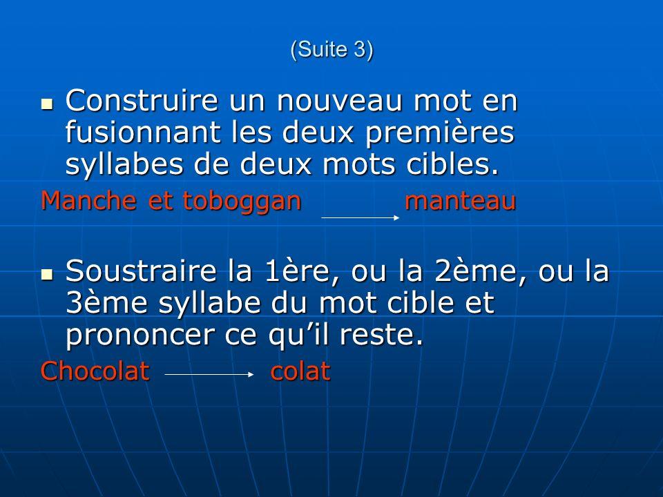 (Suite 3) Construire un nouveau mot en fusionnant les deux premières syllabes de deux mots cibles. Manche et toboggan manteau.