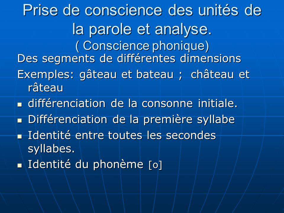 Prise de conscience des unités de la parole et analyse