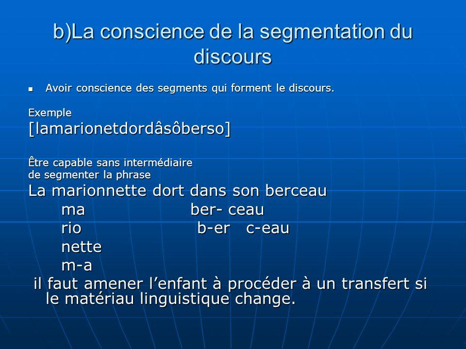 b)La conscience de la segmentation du discours