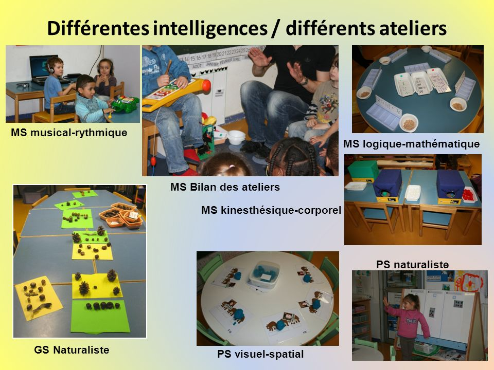 Différentes intelligences / différents ateliers