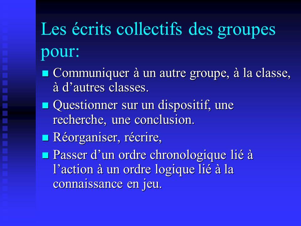 Les écrits collectifs des groupes pour: