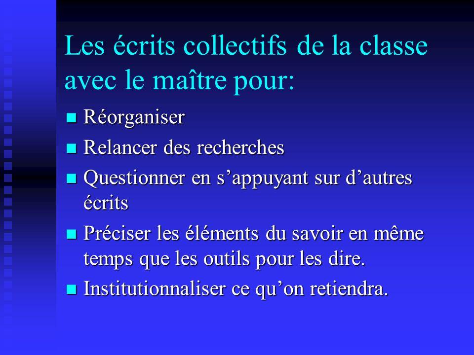 Les écrits collectifs de la classe avec le maître pour: