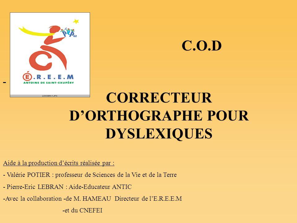 CORRECTEUR D'ORTHOGRAPHE POUR DYSLEXIQUES
