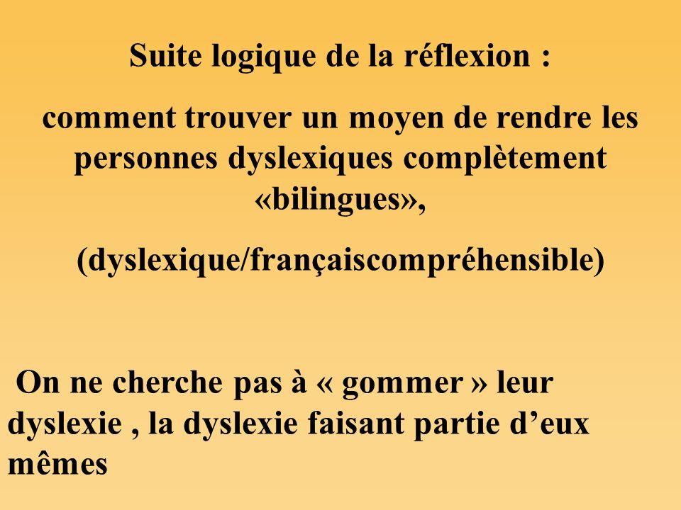 Suite logique de la réflexion : (dyslexique/françaiscompréhensible)