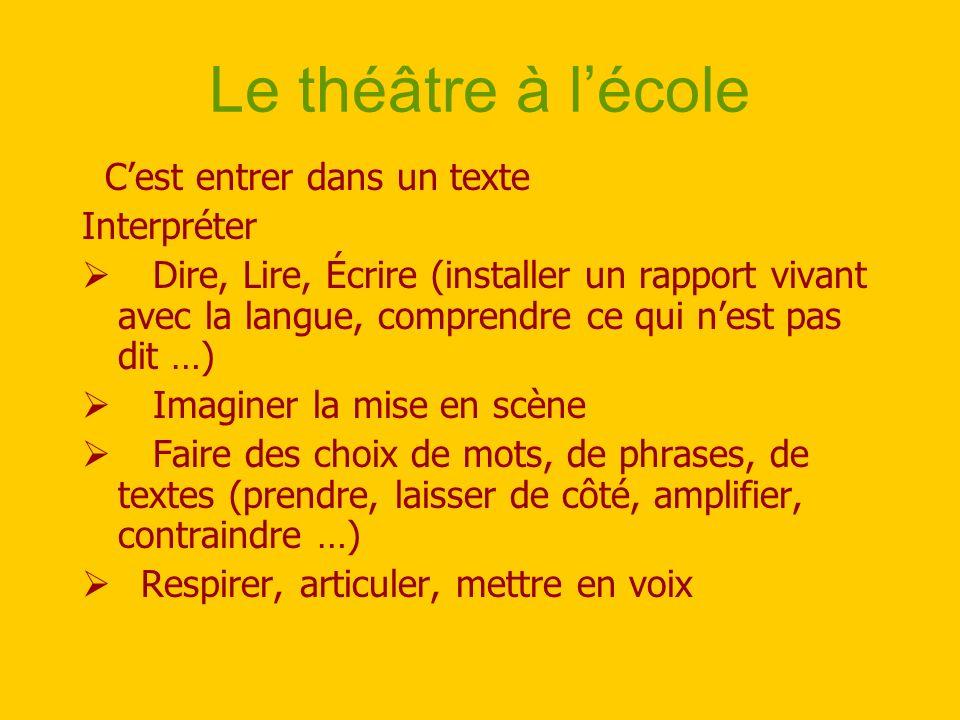 Le théâtre à l'école C'est entrer dans un texte Interpréter