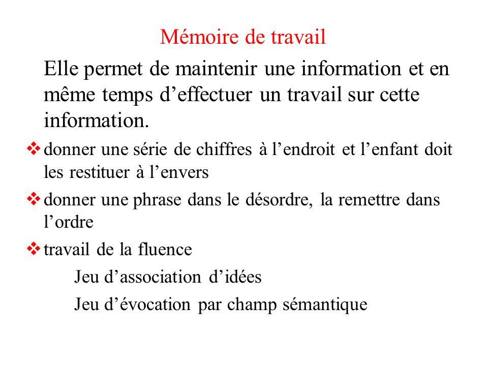 Mémoire de travail Elle permet de maintenir une information et en même temps d'effectuer un travail sur cette information.