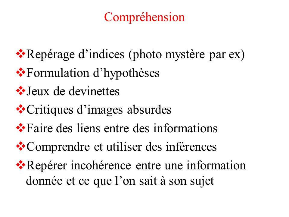Compréhension Repérage d'indices (photo mystère par ex) Formulation d'hypothèses. Jeux de devinettes.
