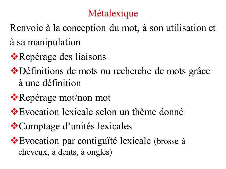 Métalexique Renvoie à la conception du mot, à son utilisation et. à sa manipulation. Repérage des liaisons.