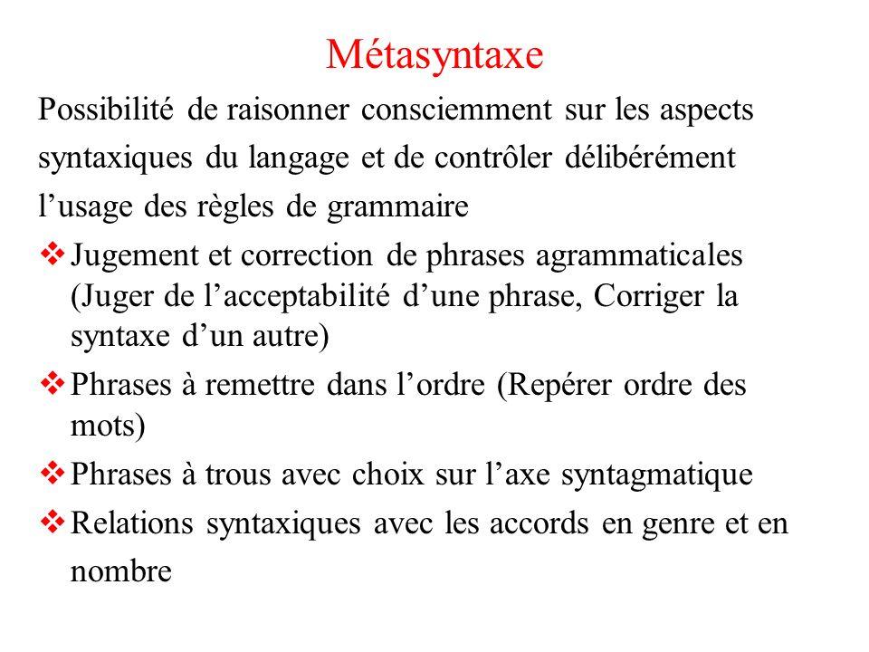 Métasyntaxe Possibilité de raisonner consciemment sur les aspects