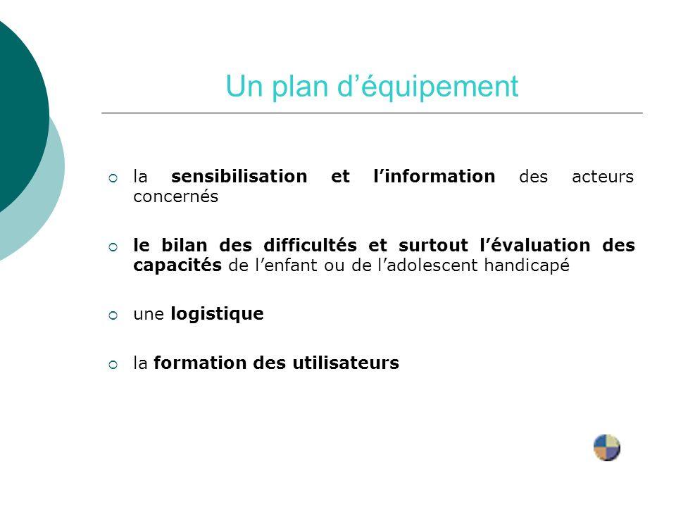 Un plan d'équipement la sensibilisation et l'information des acteurs concernés.
