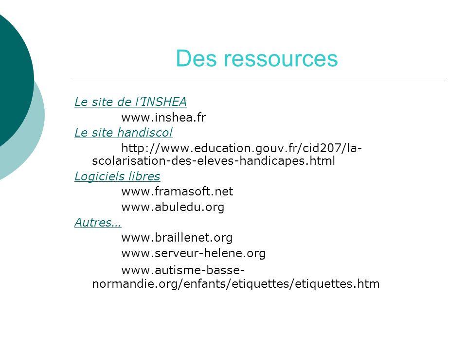 Des ressourcesLe site de l'INSHEA. www.inshea.fr. Le site handiscol. http://www.education.gouv.fr/cid207/la-scolarisation-des-eleves-handicapes.html.