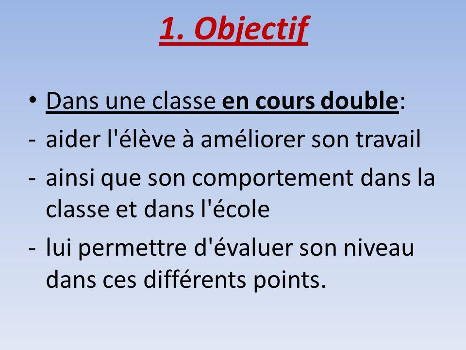 1. Objectif Dans une classe en cours double: