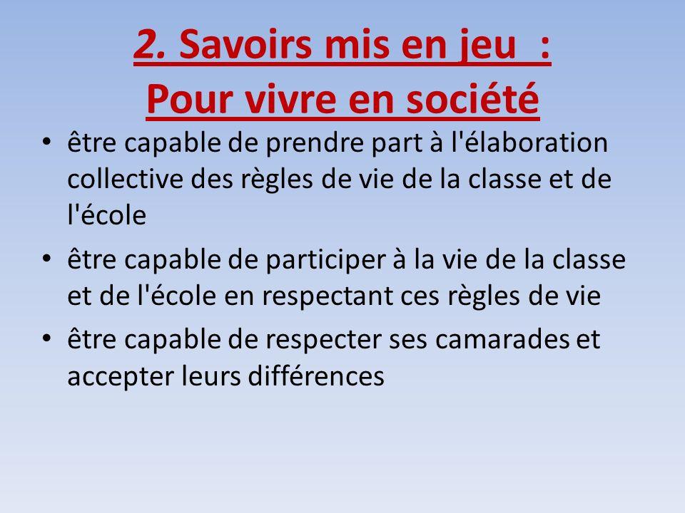 2. Savoirs mis en jeu : Pour vivre en société