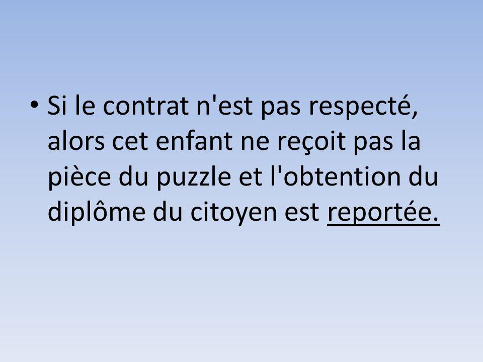 Si le contrat n est pas respecté, alors cet enfant ne reçoit pas la pièce du puzzle et l obtention du diplôme du citoyen est reportée.