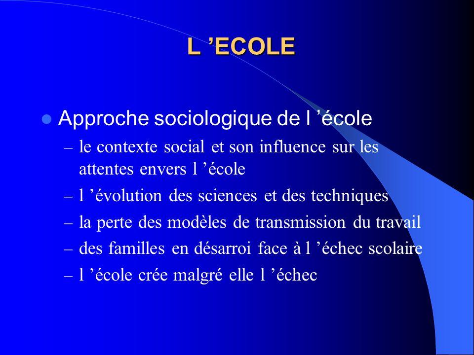 L 'ECOLE Approche sociologique de l 'école