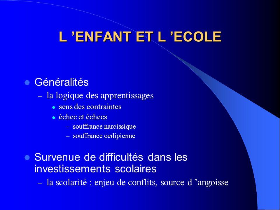L 'ENFANT ET L 'ECOLE Généralités