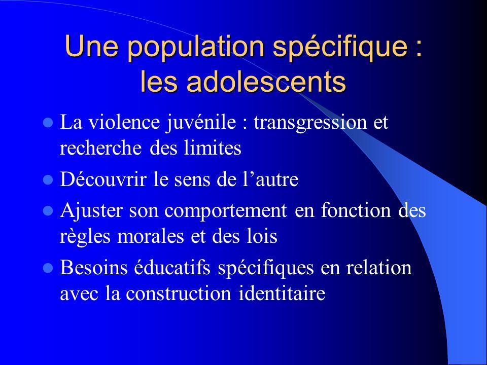 Une population spécifique : les adolescents