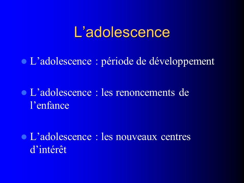 L'adolescence L'adolescence : période de développement