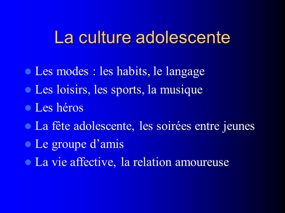 La culture adolescente