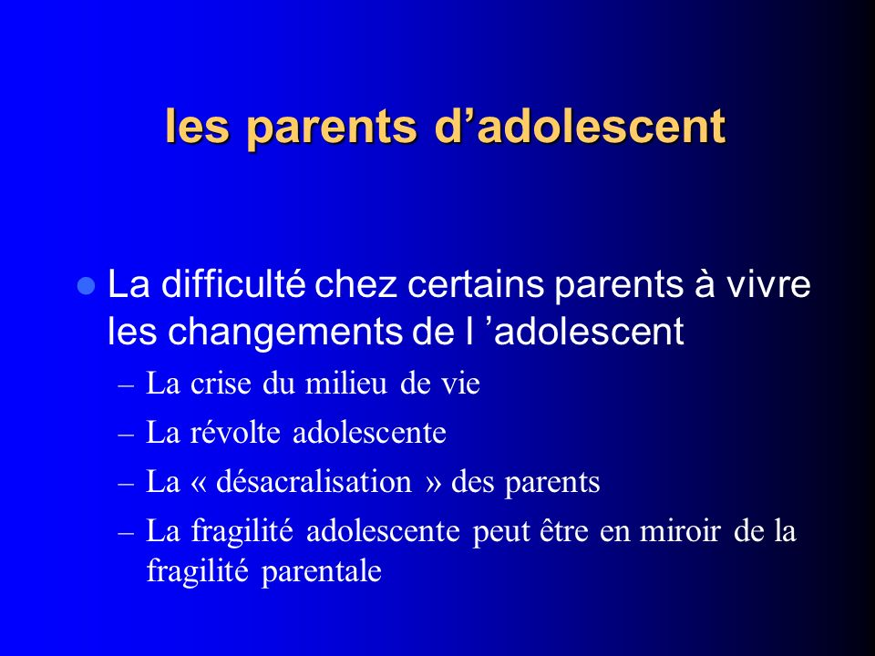 les parents d'adolescent