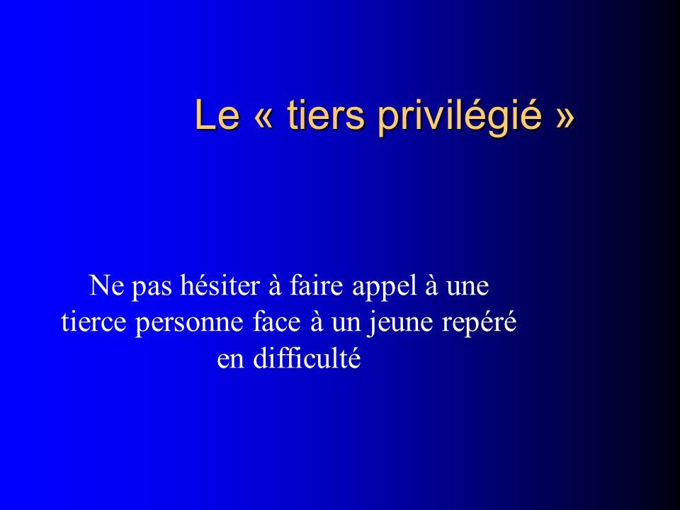 Le « tiers privilégié » Ne pas hésiter à faire appel à une tierce personne face à un jeune repéré en difficulté.